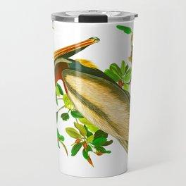 Brown Pelican Vintage Illustration Travel Mug