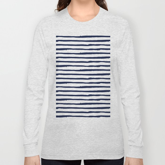 Navy Blue Stripes on White Long Sleeve T-shirt