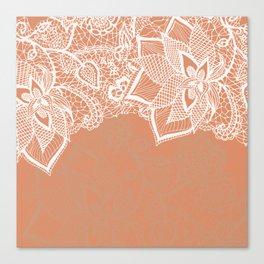 Modern hand drawn floral lace color copper tan roast illustration pattern Canvas Print