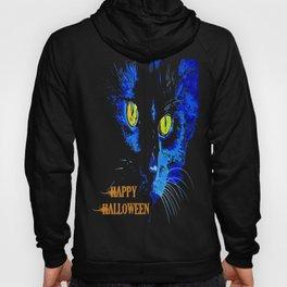 Black Cat Portrait with Happy Halloween Greeting  Hoody
