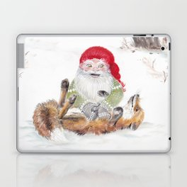 The gnome and his friend the fox - Christmas Laptop & iPad Skin