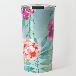 Pink Watercolor Flowers on Green Leaves Travel Mug