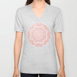White Flower Mandala on Rose Gold Unisex V-Neck
