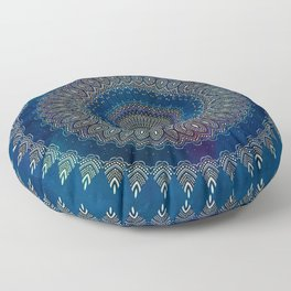Blue Detailed Mandala Esoteric Pattern Floor Pillow