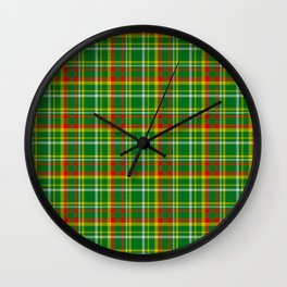 Green Red Yellow and White Plaid Wall Clock