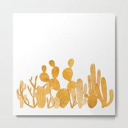 Golden cactus garden on white Metal Print
