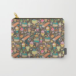 Tea party pattern on chocolate Carry-All Pouch