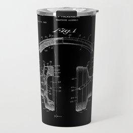 Headphones Patent - White on Black Travel Mug