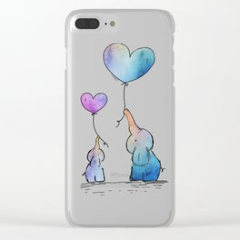 Colorful Watercolor Elephants Love Clear iPhone Case