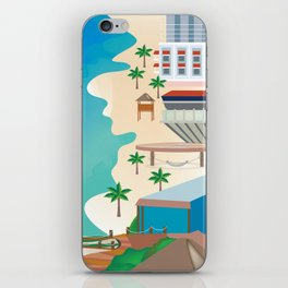 Cancun, Mexico - Skyline Illustration by Loose Petals iPhone Skin