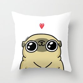 Mochi the pug loves you Throw Pillow