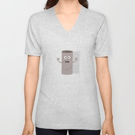 Empty Toilet paper roll with face Unisex V-Neck