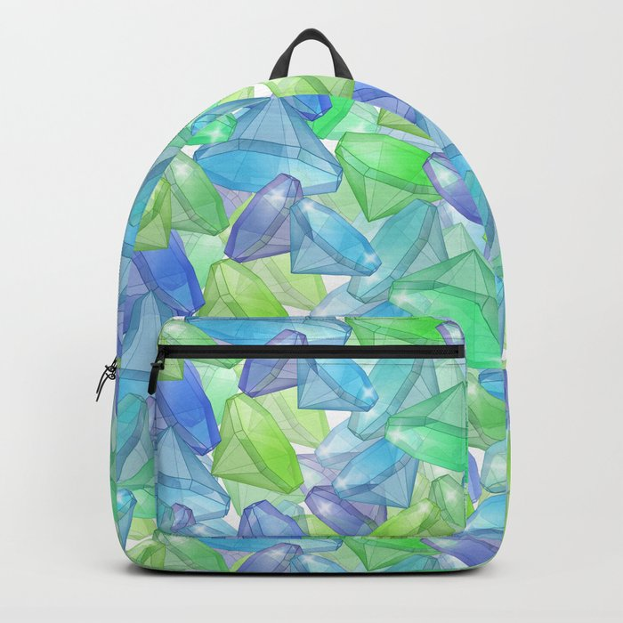 Placer precious stones, yellow , green , blue . Backpack