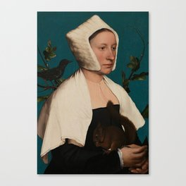 PORTRAIT OF A LADY WITH A SQUIRREL AND A STARLING - HANS HOLBEIN Canvas Print