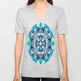 Alien Visitation in Caribbean Blue Unisex V-Neck