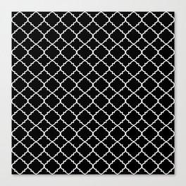 Black and White Moroccan Quatrefoil Canvas Print