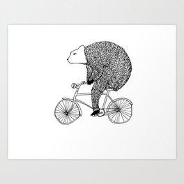 Bear Cycling Art Print