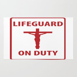 Jesus is the lifeguard on duty Rug