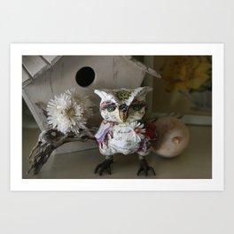 Saffron the Handmade Paper Mache Owl Art Print