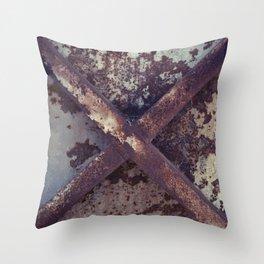 Rusty Metal Cross Throw Pillow