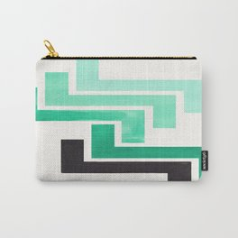 Teal Turquoise Ancient Aztec Pattern Mid-century Modern Simple Geometric Pattern Watercolor Minimali Carry-All Pouch