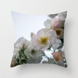 Roses and Raindrops: White Throw Pillow