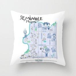Seminole Heights Map Throw Pillow