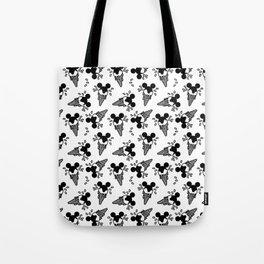 B&W Mickey Icecream Splash Pattern Tote Bag