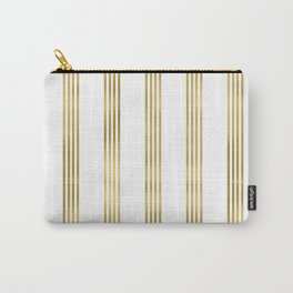 Simply luxury Gold small stripes on clear white - vertical pattern Carry-All Pouch