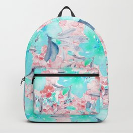 Watercolor turquoise pink hand painted floral Backpack