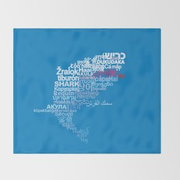 Shark in Different Languages Throw Blanket
