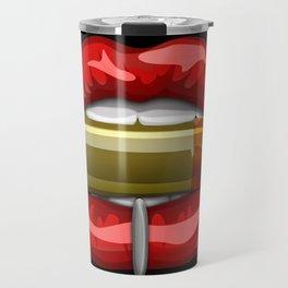 Biting The Bullet Pierced Red Lips on Black Travel Mug