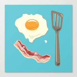 bacon & eggs, blue Canvas Print