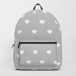 HEARTS ((white on calm gray)) Backpack