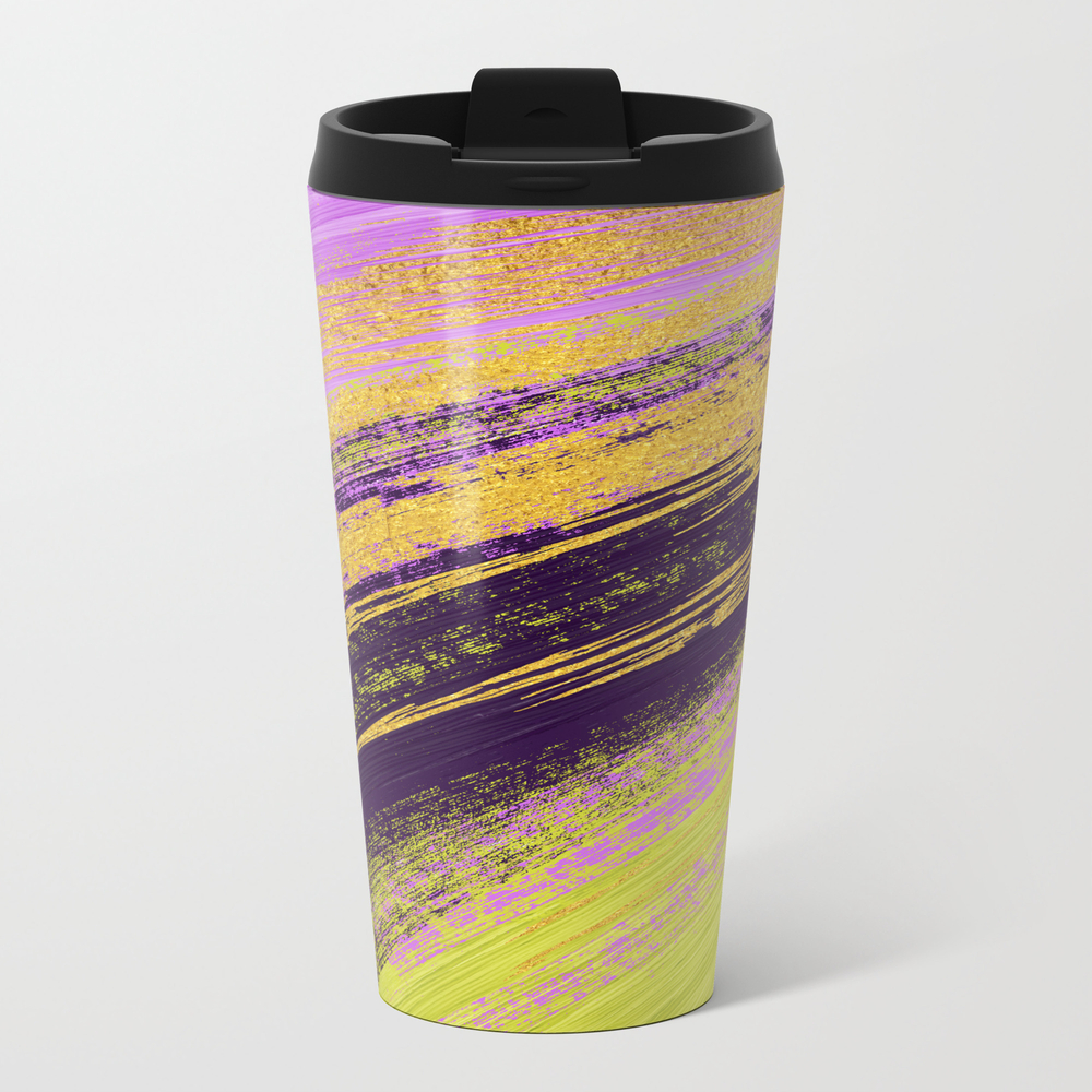 Colored Brush With Gold Foil 14 Metal Travel Mug by Serigraphonart MTM9042778