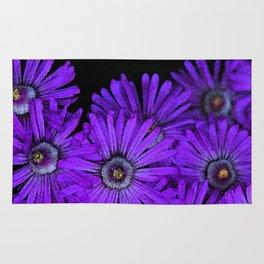 Purple succulent flowers watercolor effect Rug