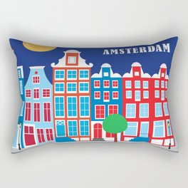 Amsterdam, Netherlands - Skyline Illustration by Loose Petals Rectangular Pillow