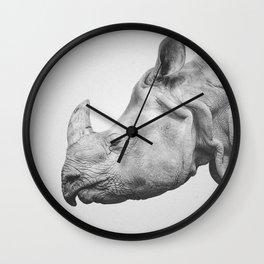 Rhino Art | Minimalism | Black and White | Animal Photography Wall Clock