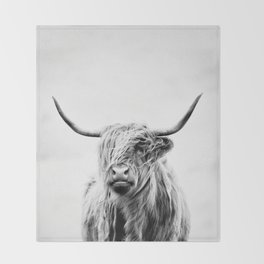 portrait of a highland cow - (vertical) Throw Blanket
