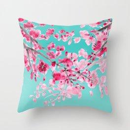 Cherry Blossom Aqua Throw Pillow