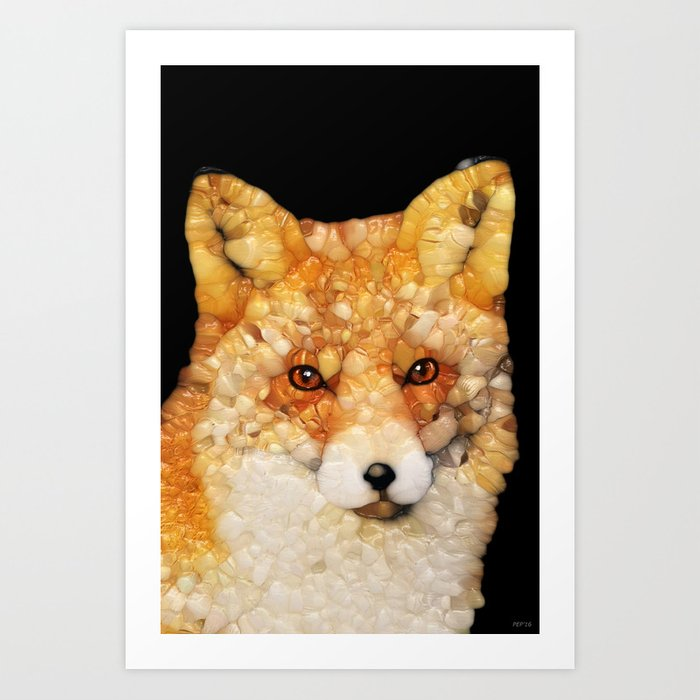 Red Fox Abstract Art Print