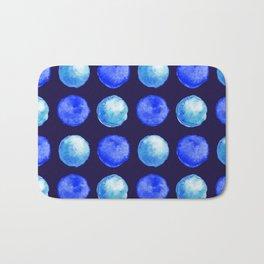 Winter Blue Watercolor Large Dots Pattern Bath Mat