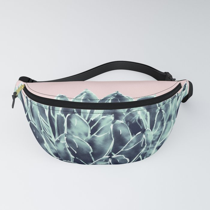 Blush Navy Blue Agave Chic #1 #succulent #decor #art #society6 Fanny Pack