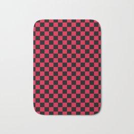 Black and Crimson Red Checkerboard Bath Mat