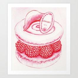 Raspberry Macaron Art Print