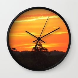 Red Sky Sunset with Red Robin Wall Clock