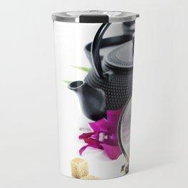 Asian tea set on  white background Travel Mug