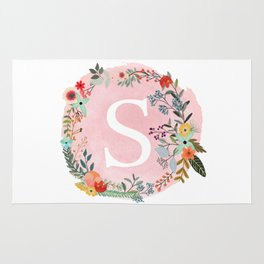 Flower Wreath with Personalized Monogram Initial Letter S on Pink Watercolor Paper Texture Artwork Rug