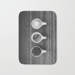 Three Coffee (Black and White) Bath Mat