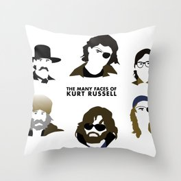 Many Faces of Kurt Russell Throw Pillow
